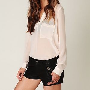 Free People Coated Black Faux Leather Shorts